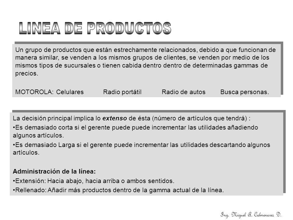 Ing. Miguel A. Colmenares D. Un grupo de productos que están estrechamente relacionados, debido a que funcionan de manera similar, se venden a los mis