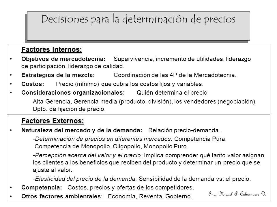 Ing. Miguel A. Colmenares D. Factores Internos: Objetivos de mercadotecnia: Supervivencia, incremento de utilidades, liderazgo de participación, lider