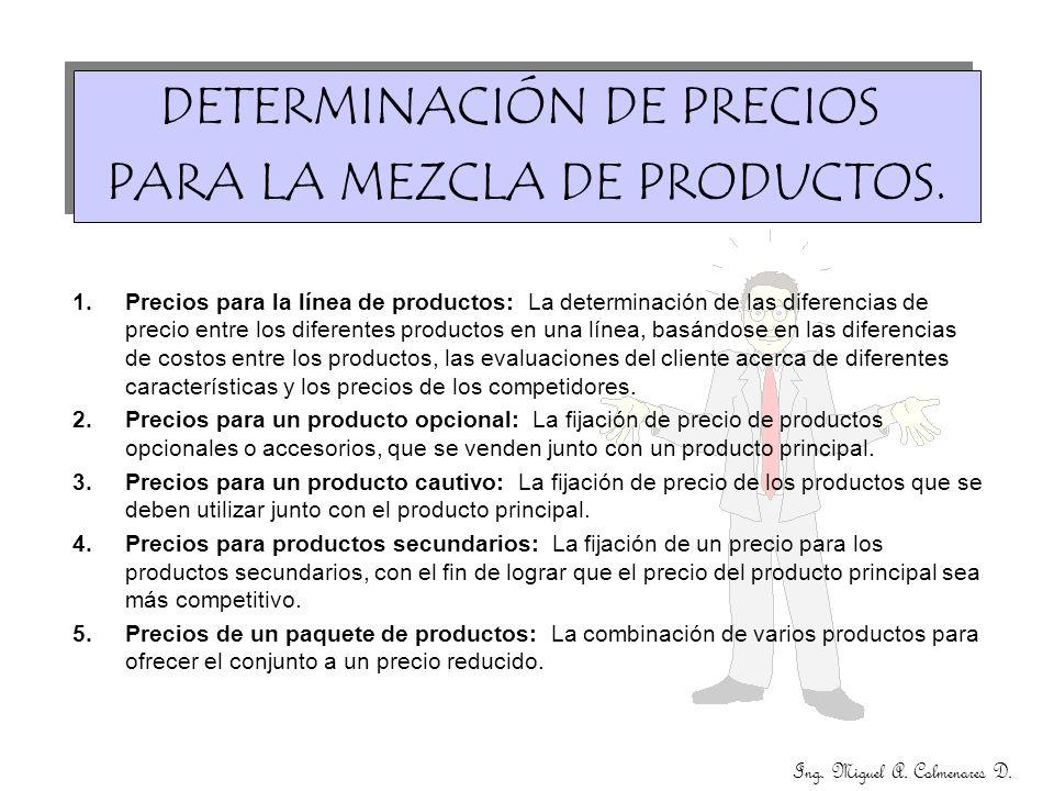 Ing. Miguel A. Colmenares D. DETERMINACIÓN DE PRECIOS PARA LA MEZCLA DE PRODUCTOS. DETERMINACIÓN DE PRECIOS PARA LA MEZCLA DE PRODUCTOS. 1.Precios par