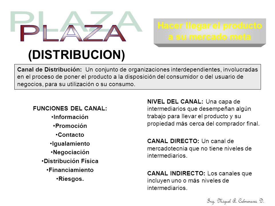 Ing. Miguel A. Colmenares D. (DISTRIBUCION) Canal de Distribución: Un conjunto de organizaciones interdependientes, involucradas en el proceso de pone