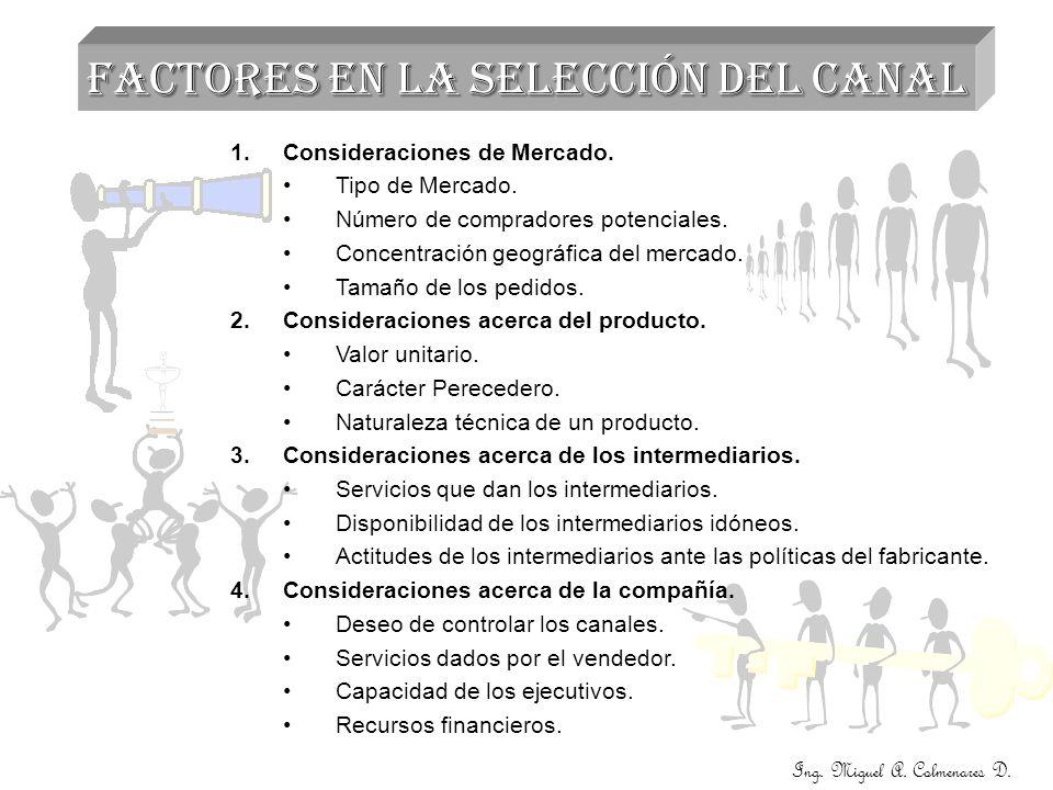 Ing. Miguel A. Colmenares D. FACTORES EN LA SELECCIÓN DEL CANAL 1.Consideraciones de Mercado. Tipo de Mercado. Número de compradores potenciales. Conc