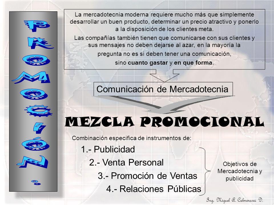 MEZCLA PROMOCIONAL La mercadotecnia moderna requiere mucho más que simplemente desarrollar un buen producto, determinar un precio atractivo y ponerlo