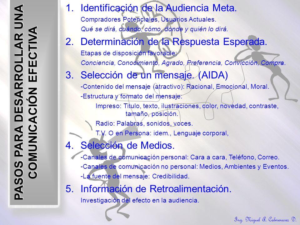 Ing. Miguel A. Colmenares D. PASOS PARA DESARROLLAR UNA COMUNICACIÓN EFECTIVA 1.Identificación de la Audiencia Meta. Compradores Potenciales, Usuarios