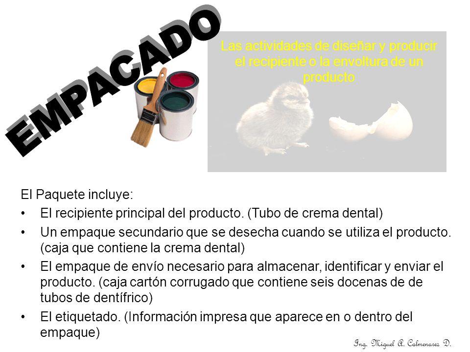 Las actividades de diseñar y producir el recipiente o la envoltura de un producto El Paquete incluye: El recipiente principal del producto. (Tubo de c