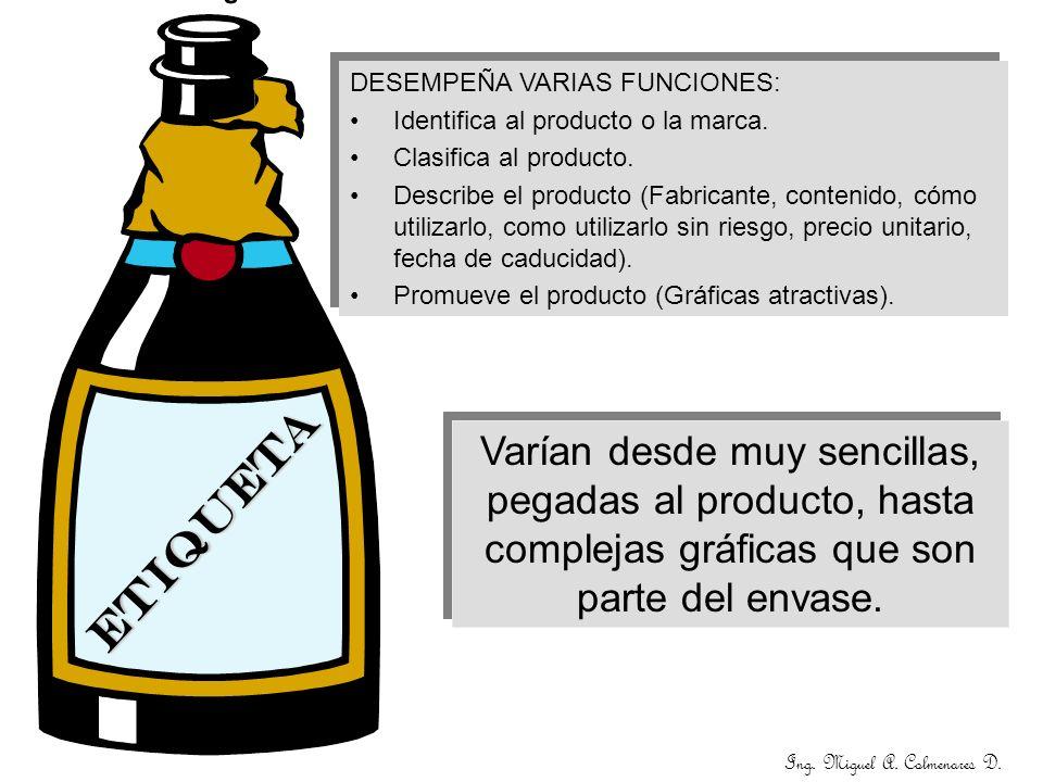 ETIQUETA DESEMPEÑA VARIAS FUNCIONES: Identifica al producto o la marca. Clasifica al producto. Describe el producto (Fabricante, contenido, cómo utili