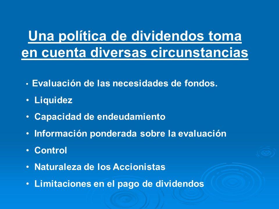 Una política de dividendos toma en cuenta diversas circunstancias Evaluación de las necesidades de fondos. Liquidez Capacidad de endeudamiento Informa
