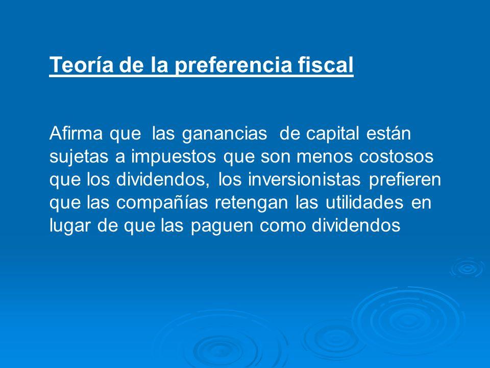 Teoría de la preferencia fiscal Afirma que las ganancias de capital están sujetas a impuestos que son menos costosos que los dividendos, los inversion