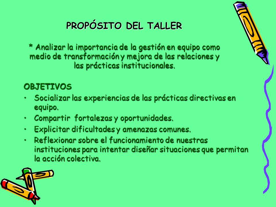 PROPÓSITO DEL TALLER * Analizar la importancia de la gestión en equipo como medio de transformación y mejora de las relaciones y las prácticas institucionales.