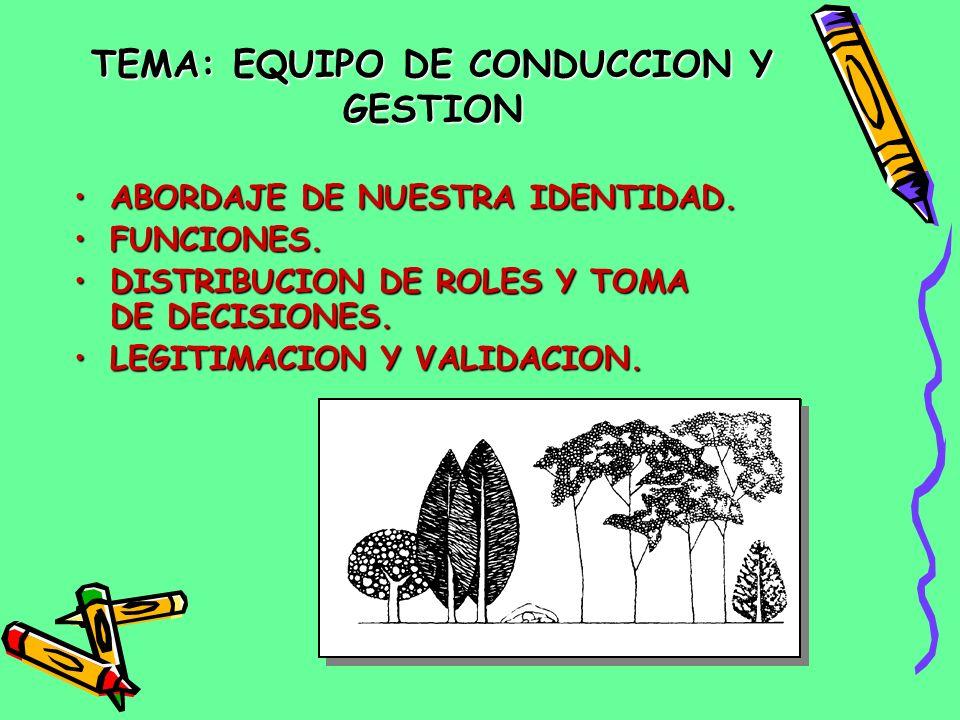 TEMA:EQUIPO DE CONDUCCION Y GESTION TEMA: EQUIPO DE CONDUCCION Y GESTION ABORDAJE DE NUESTRA IDENTIDAD.ABORDAJE DE NUESTRA IDENTIDAD.