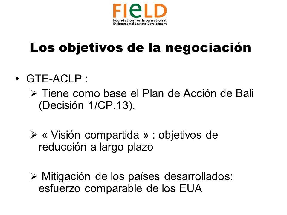 Los objetivos de la negociación GTE-ACLP : Tiene como base el Plan de Acción de Bali (Decisión 1/CP.13).