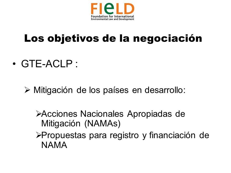 Los objetivos de la negociación GTE-ACLP : Mitigación de los países en desarrollo: Acciones Nacionales Apropiadas de Mitigación (NAMAs) Propuestas para registro y financiación de NAMA