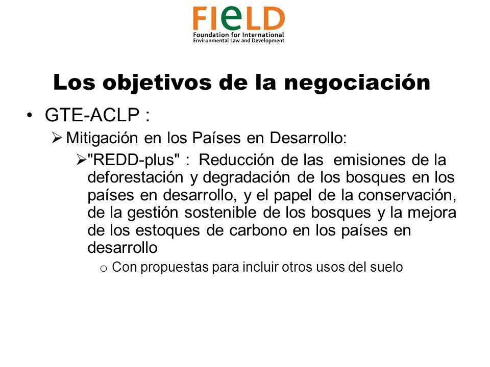 Los objetivos de la negociación GTE-ACLP : Mitigación en los Países en Desarrollo: REDD-plus : Reducción de las emisiones de la deforestación y degradación de los bosques en los países en desarrollo, y el papel de la conservación, de la gestión sostenible de los bosques y la mejora de los estoques de carbono en los países en desarrollo o Con propuestas para incluir otros usos del suelo