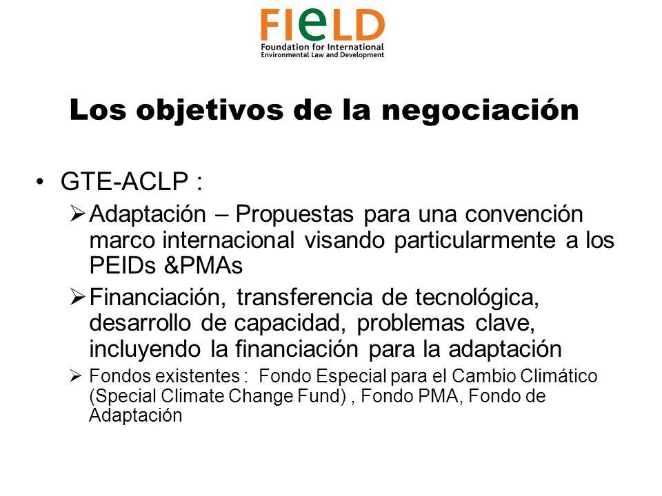 Los objetivos de la negociación GTE-ACLP : Adaptación – Propuestas para una convención marco internacional visando particularmente a los PEIDs &PMAs Financiación, transferencia de tecnológica, desarrollo de capacidad, problemas clave, incluyendo la financiación para la adaptación Fondos existentes : Fondo Especial para el Cambio Climático (Special Climate Change Fund), Fondo PMA, Fondo de Adaptación
