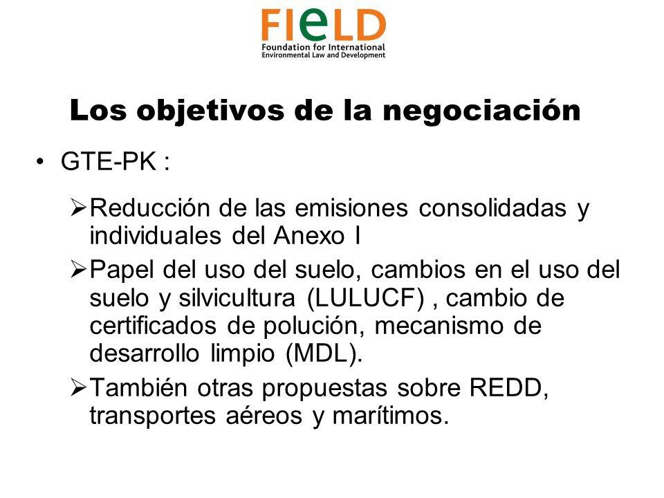 Los objetivos de la negociación GTE-PK : Reducción de las emisiones consolidadas y individuales del Anexo I Papel del uso del suelo, cambios en el uso del suelo y silvicultura (LULUCF), cambio de certificados de polución, mecanismo de desarrollo limpio (MDL).
