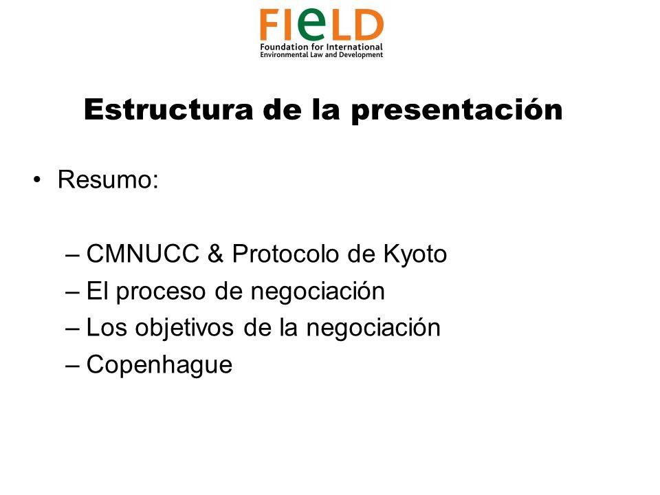 Estructura de la presentación Resumo: –CMNUCC & Protocolo de Kyoto –El proceso de negociación –Los objetivos de la negociación –Copenhague