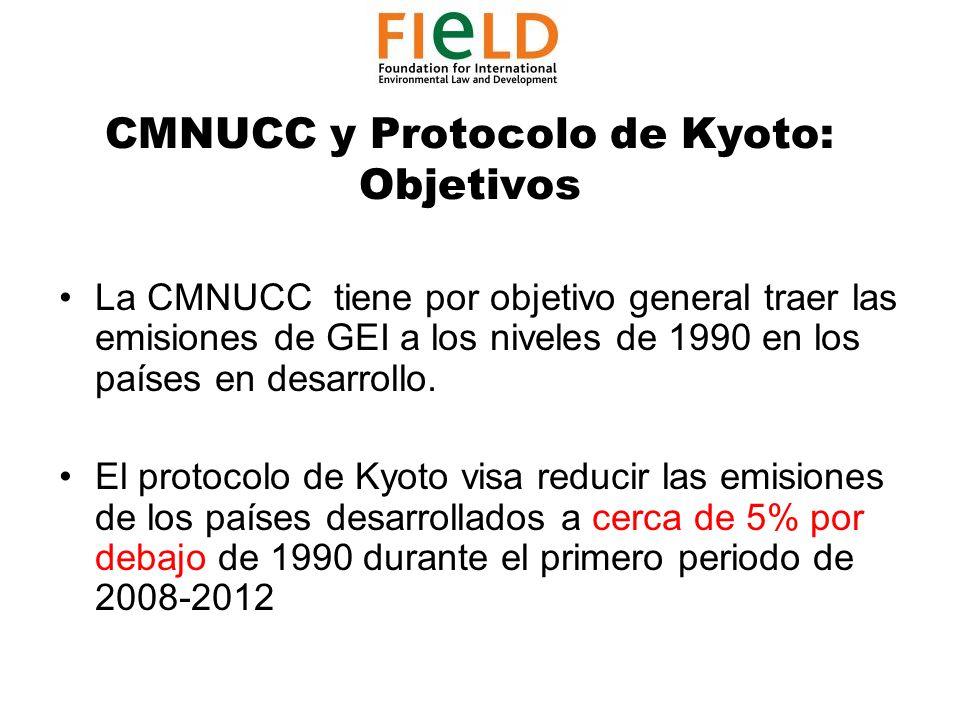 CMNUCC y Protocolo de Kyoto: Objetivos La CMNUCC tiene por objetivo general traer las emisiones de GEI a los niveles de 1990 en los países en desarrollo.