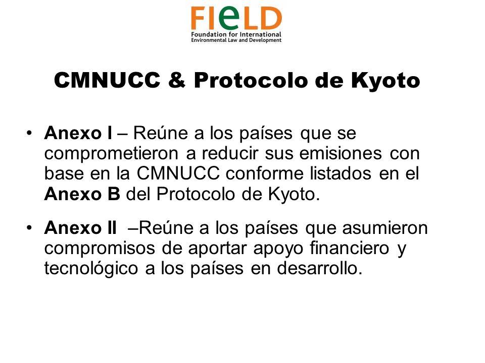 CMNUCC & Protocolo de Kyoto Anexo I – Reúne a los países que se comprometieron a reducir sus emisiones con base en la CMNUCC conforme listados en el Anexo B del Protocolo de Kyoto.