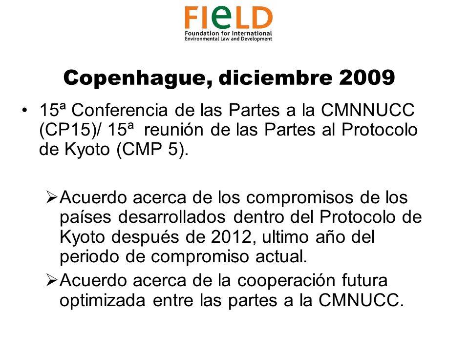 Copenhague, diciembre 2009 15ª Conferencia de las Partes a la CMNNUCC (CP15)/ 15ª reunión de las Partes al Protocolo de Kyoto (CMP 5).