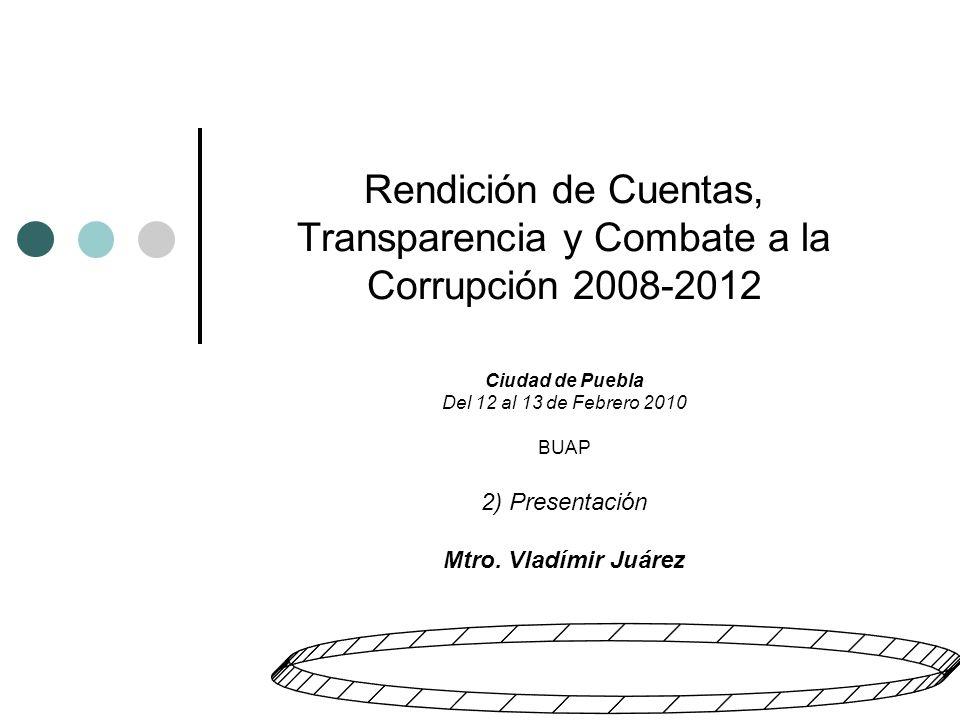 Rendición de Cuentas, Transparencia y Combate a la Corrupción 2008-2012 Ciudad de Puebla Del 12 al 13 de Febrero 2010 BUAP 2) Presentación Mtro.
