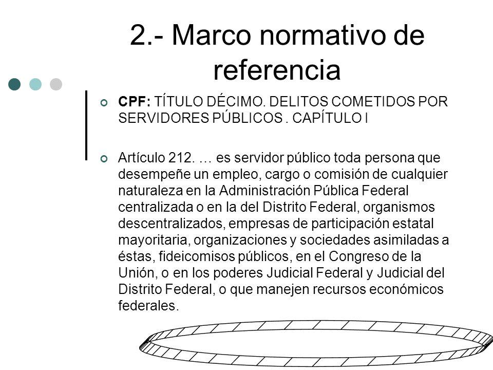 2.- Marco normativo de referencia CPF: TÍTULO DÉCIMO.