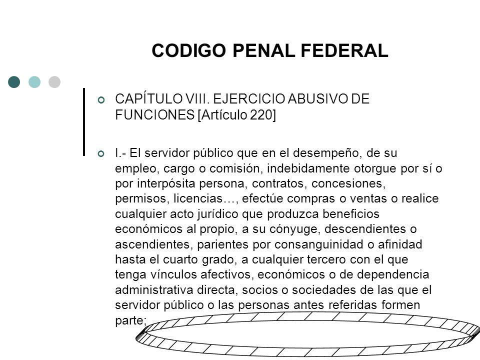 CODIGO PENAL FEDERAL CAPÍTULO VIII.