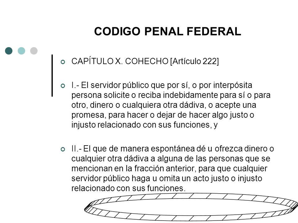 CODIGO PENAL FEDERAL CAPÍTULO X.