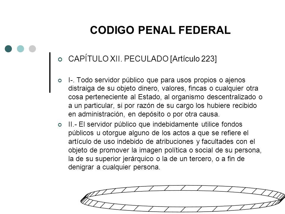 CODIGO PENAL FEDERAL CAPÍTULO XII. PECULADO [Artículo 223] I-.