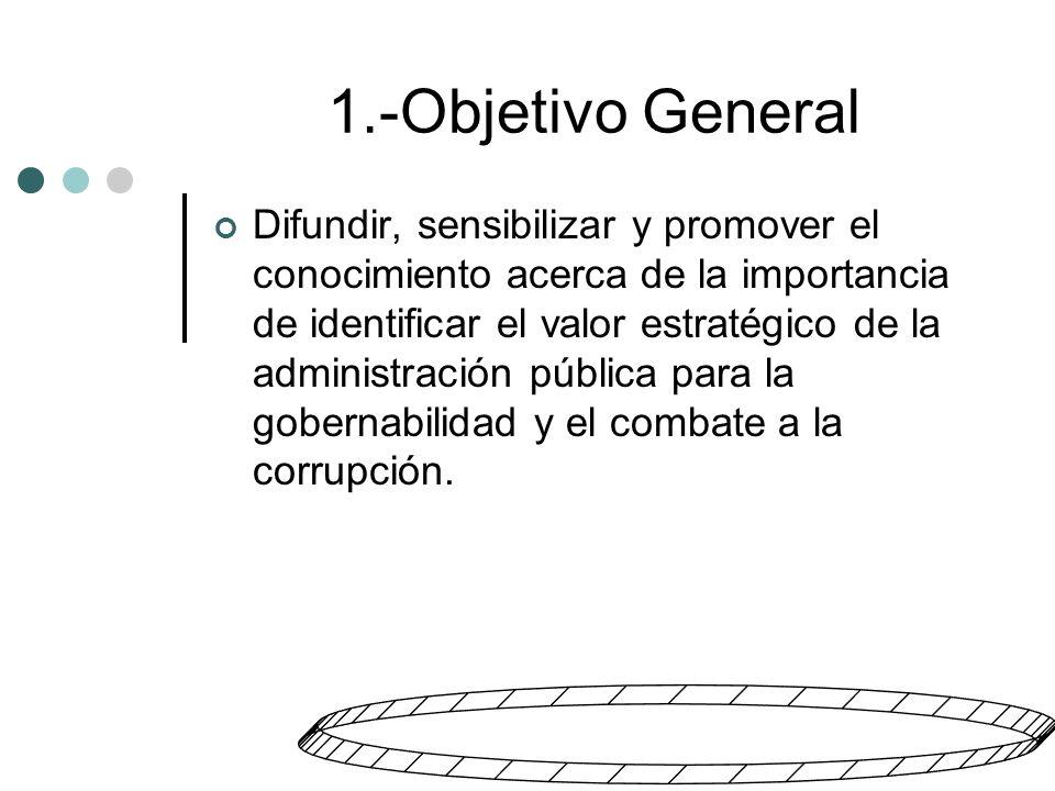 1.-Objetivo General Difundir, sensibilizar y promover el conocimiento acerca de la importancia de identificar el valor estratégico de la administración pública para la gobernabilidad y el combate a la corrupción.