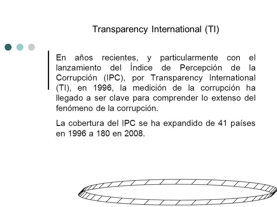 Transparency International (TI) En años recientes, y particularmente con el lanzamiento del Índice de Percepción de la Corrupción (IPC), por Transparency International (TI), en 1996, la medición de la corrupción ha llegado a ser clave para comprender lo extenso del fenómeno de la corrupción.