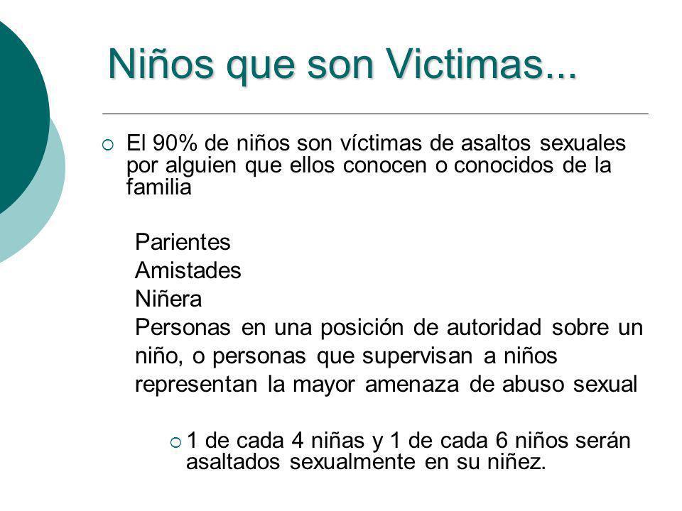 Víctimas Adultas o1 de cada 3 mujeres y 1 de cada 12 hombres son asaltados sexualmente en su vida.
