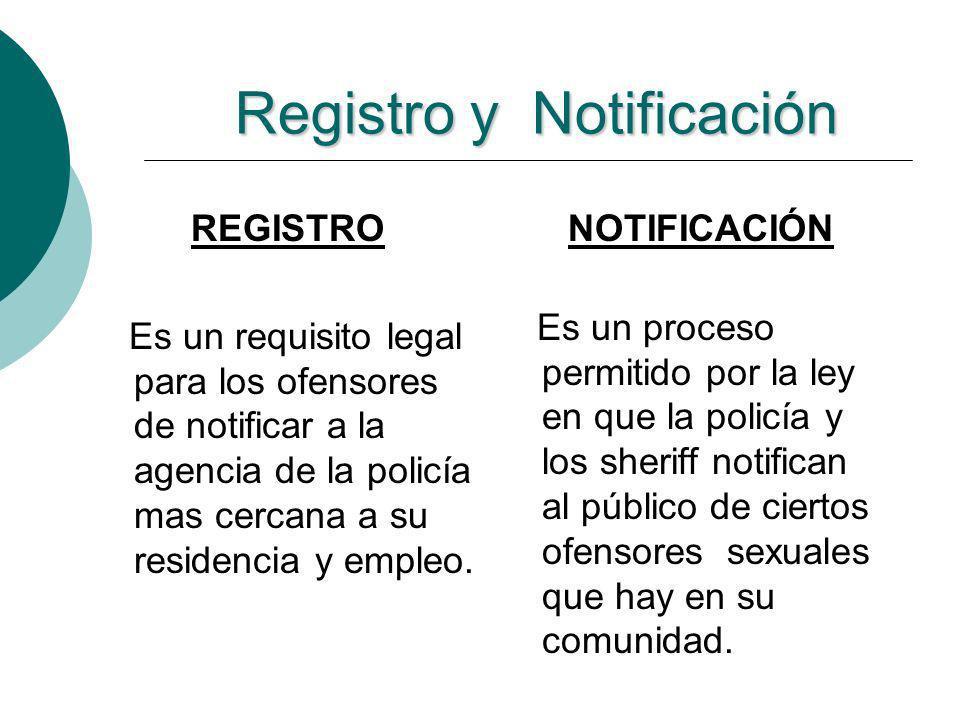 Registro y Notificación REGISTRO Es un requisito legal para los ofensores de notificar a la agencia de la policía mas cercana a su residencia y empleo