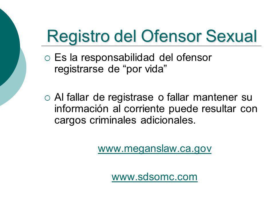 Es la responsabilidad del ofensor registrarse de por vida Al fallar de registrase o fallar mantener su información al corriente puede resultar con car