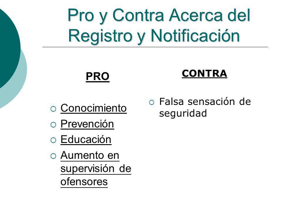 Pro y Contra Acerca del Registro y Notificación Pro y Contra Acerca del Registro y Notificación PRO Conocimiento Prevención Educación Aumento en super