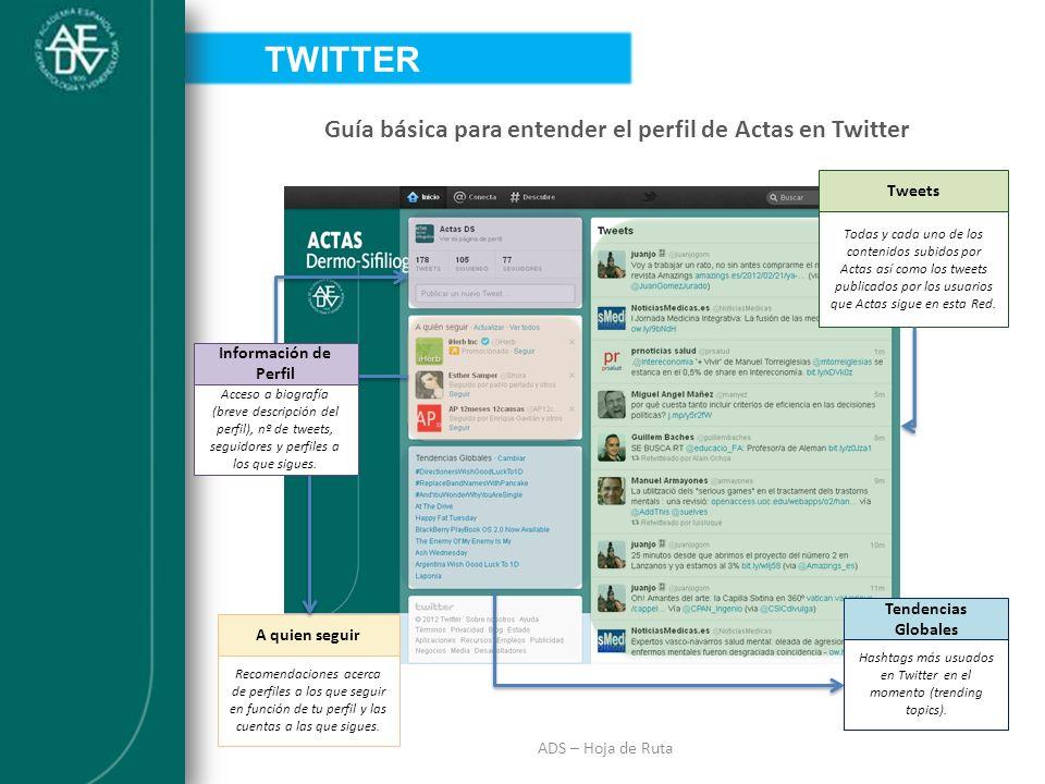 INTRODUCCIÓN ADS – Hoja de Ruta Guía básica para entender el perfil de Actas en Twitter TWITTER A quien seguir Recomendaciones acerca de perfiles a lo