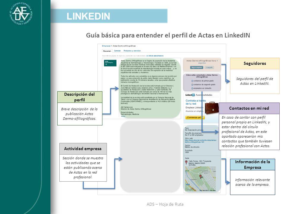 INTRODUCCIÓN ADS – Hoja de Ruta Guía básica para entender el perfil de Actas en LinkedIN LINKEDIN Descripción del perfil Breve descripción de la publi
