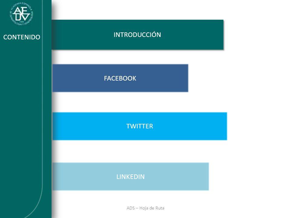 INTRODUCCIÓN ADS – Hoja de Ruta INTRODUCCIÓN LINKEDIN TWITTER CONTENIDO FACEBOOK