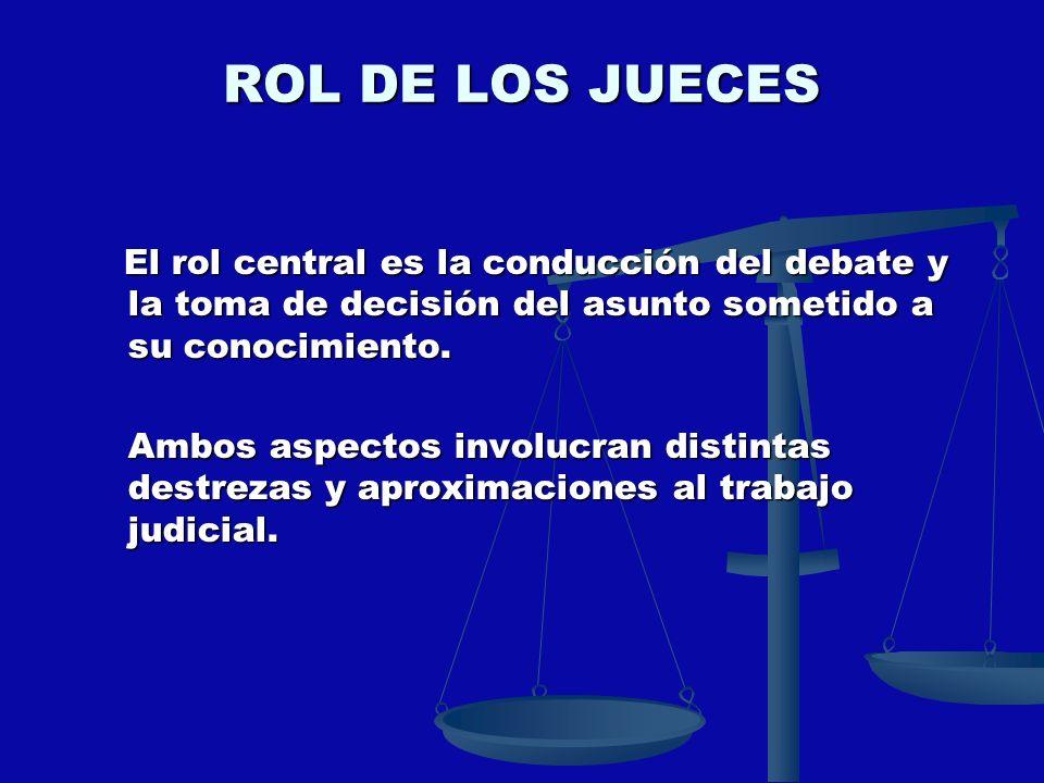 ROL DE LOS JUECES El rol central es la conducción del debate y la toma de decisión del asunto sometido a su conocimiento. El rol central es la conducc