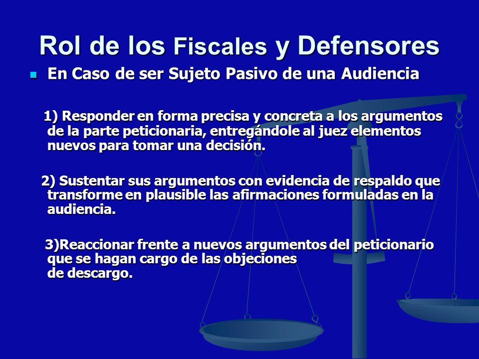 Rol de los Fiscales y Defensores En Caso de ser Sujeto Pasivo de una Audiencia En Caso de ser Sujeto Pasivo de una Audiencia 1) Responder en forma pre