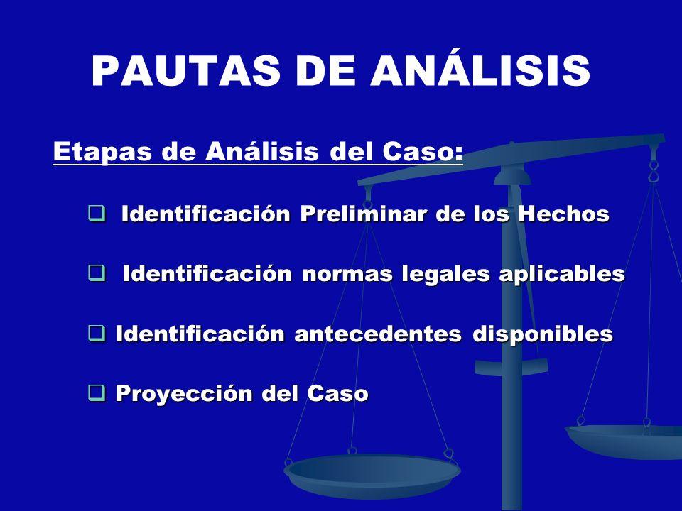 PAUTAS DE ANÁLISIS Etapas de Análisis del Caso: Identificación Preliminar de los Hechos Identificación Preliminar de los Hechos Identificación normas