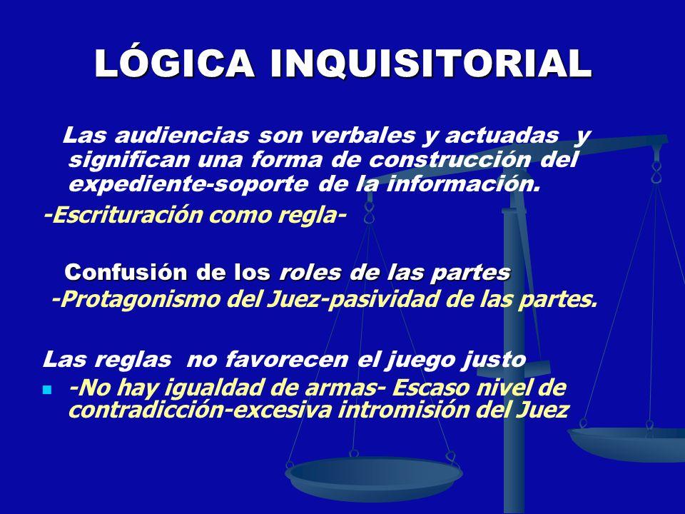 LÓGICA INQUISITORIAL Las audiencias son verbales y actuadas y significan una forma de construcción del expediente-soporte de la información. -Escritur