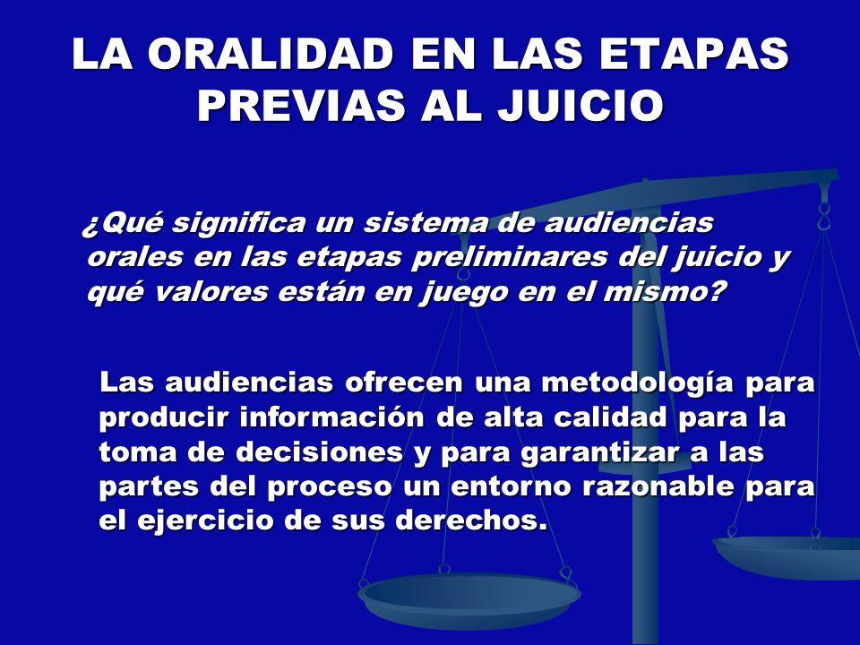 LA ORALIDAD EN LAS ETAPAS PREVIAS AL JUICIO ¿Qué significa un sistema de audiencias orales en las etapas preliminares del juicio y qué valores están e