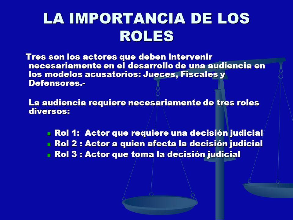 LA IMPORTANCIA DE LOS ROLES Tres son los actores que deben intervenir necesariamente en el desarrollo de una audiencia en los modelos acusatorios: Jue