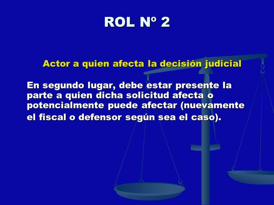ROL Nº 2 Actor a quien afecta la decisión judicial En segundo lugar, debe estar presente la parte a quien dicha solicitud afecta o potencialmente pued