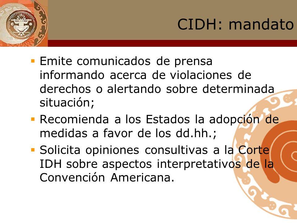 CIDH: mandato Observa situación general de los dd.hh. en los Estados miembros, y si lo considera apropiado, publica informes al respecto; Establece re