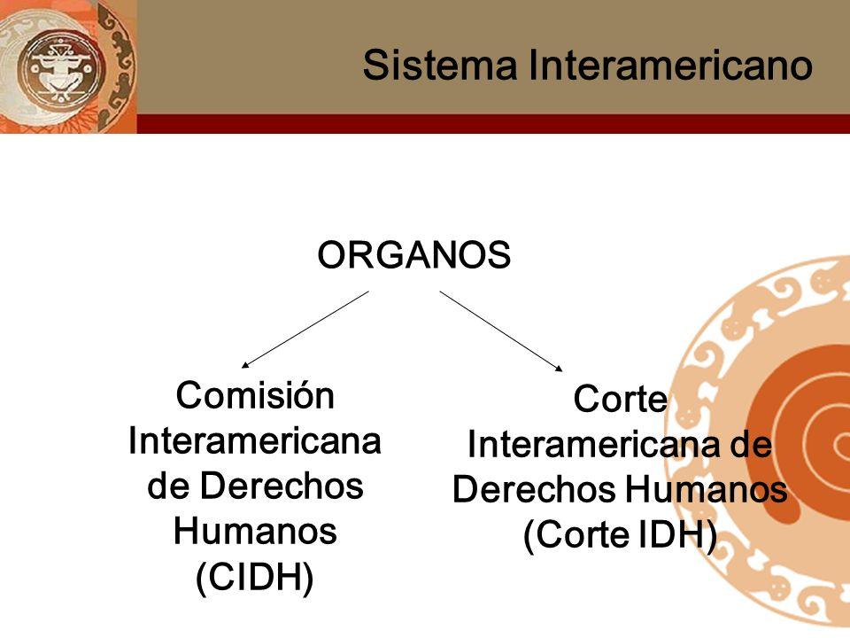 ORGANOS Comisión Interamericana de Derechos Humanos (CIDH) Corte Interamericana de Derechos Humanos (Corte IDH) Sistema Interamericano