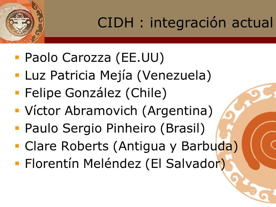 CIDH : integración Candidatos/as propuestos por los gobiernos de los Estados de la OEA; Escogidos/as por los Estados en votación en la Asamblea Genera