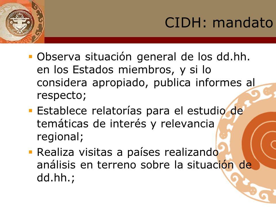 CIDH: mandato Mandato amplio para promoción y protección de los dd.hh. Recibe, analiza e investiga denuncias que alegan violaciones a los dd.hh.; Soli