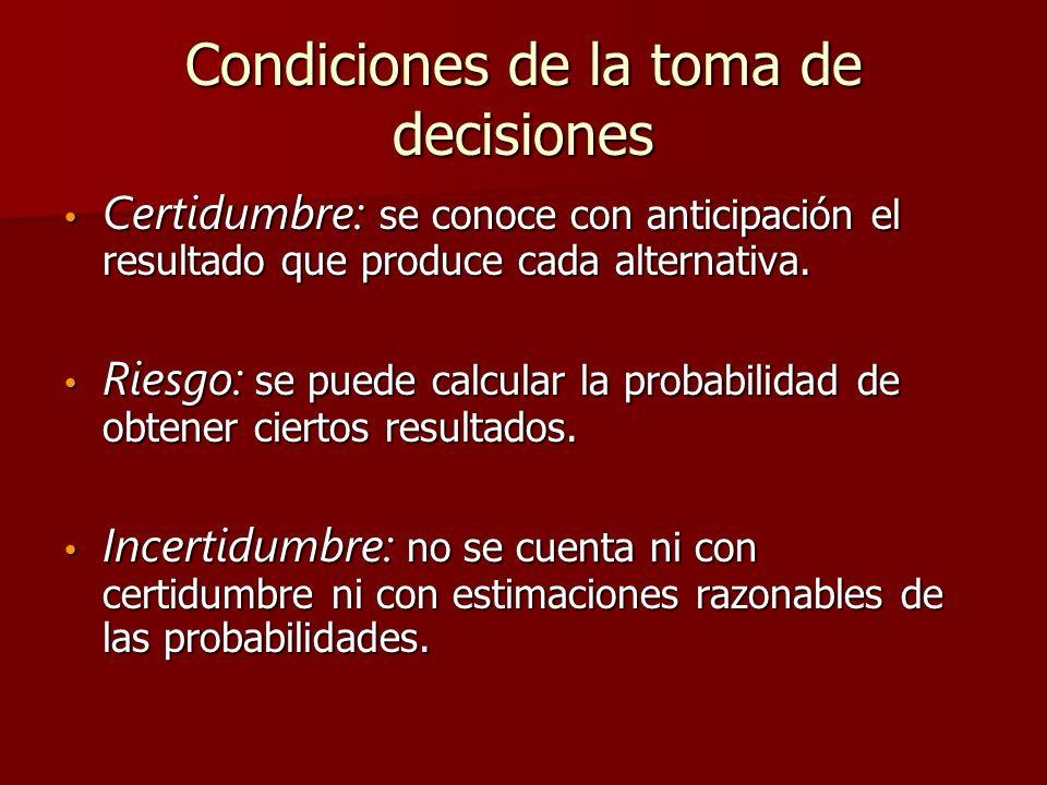 Condiciones de la toma de decisiones Certidumbre: se conoce con anticipación el resultado que produce cada alternativa. Certidumbre: se conoce con ant