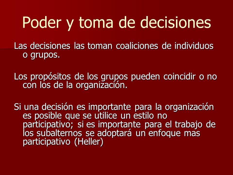 Poder y toma de decisiones Las decisiones las toman coaliciones de individuos o grupos. Los propósitos de los grupos pueden coincidir o no con los de