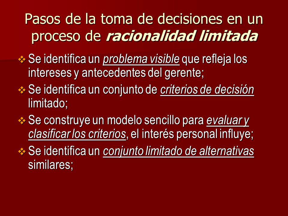 Pasos de la toma de decisiones en un proceso de racionalidad limitada Se identifica un problema visible que refleja los intereses y antecedentes del g